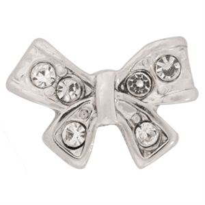 Picture of Silver Bow with Crystals Charm